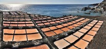 Salt evaporation ponds near Fuencaliente (La Palma, Canary Islands). Panoramic view of Salt evaporation ponds near Fuencaliente (La Palma, Canary Islands royalty free stock photo