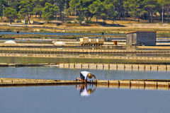 Salt evaporation ponds, production plant in Nin Royalty Free Stock Photo