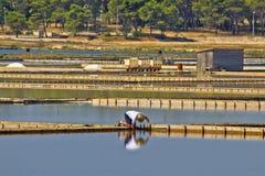 Salt evaporation ponds, production plant in Nin Royalty Free Stock Photo