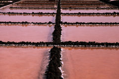 Salt extraction at La Palma coast Stock Images