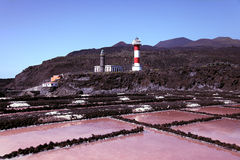 Salt extraction at La Palma coast Stock Image