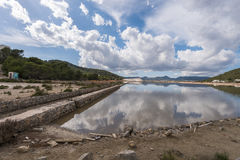Salt extraction plant at Salinas, Ibiza Stock Photo