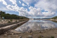 Salt extraction plant at Salinas, Ibiza Stock Photo