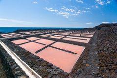 Salt extraction plant at salinas  La Palma Stock Images