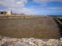 Salt extraction. Salinas, Caleta de Fuste, Fuerteventura, Spain - salt extraction Stock Images