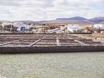 Salt extraction. Salinas, Caleta de Fuste, Fuerteventura, Spain - salt extraction Stock Photos