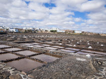 Salt extraction. Salinas, Caleta de Fuste, Fuerteventura, Spain - salt extraction Stock Photography