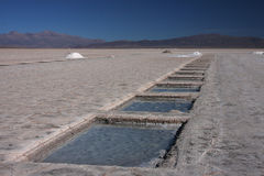Salt extraction in Salinas Grandes Royalty Free Stock Images