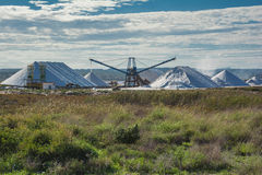 Salt extraction - salt mountains near salt lake Stock Images