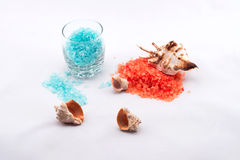 Salt för apelsin- och blåttbad fotografering för bildbyråer