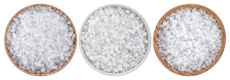 Salt för hav som isoleras på vit bakgrund, bästa sikt arkivfoton