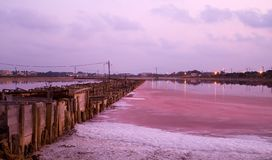 Salt factory in sunset Israel Royalty Free Stock Photos