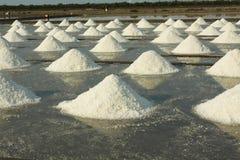 Salt farm. Salt evaporation pond, salt pile in Thailand, salt pan Royalty Free Stock Image