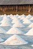 Salt farm, Food industry background scene Royalty Free Stock Photos