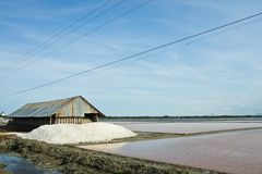 Salt farm in Thailand Stock Photo