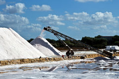 Salt farm in Trapani - salt production to extract of sea water Royalty Free Stock Images