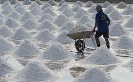 Salt farming. SAMUTSONGKRAM, THAILAND - MARCH 14: a man works at a salt farm on March 14, 2010 in Samutsongkram, Thailand. Samutsongkram is a big salt production Stock Photography