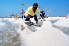 Salt farming in Thailand Royalty Free Stock Photo