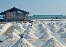 Salt farming Thailand. Workers in salt farming Thailand Royalty Free Stock Image