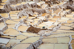 Salt field in Cuzco near Sacred Valley, Peru Royalty Free Stock Photos