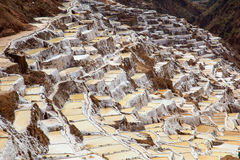 Salt field in Cuzco near Sacred Valley, Peru. Salina de Maras, the traditional inca salt field in Maras near Cuzco in Sacred Valley, Peru Stock Photos