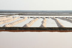 Salt field at Samut Sakhon, Thailand. Salt pan at Samut Sakhon Province in Thailand Portrait view Royalty Free Stock Image