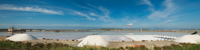 Salt field in Trapani, Sicily. Italy Royalty Free Stock Photography