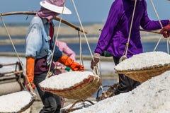 Salt field worker carrying salt with traditional shoulder pole with baskets during salt harvest. In Ban Laem, Thailand stock photo