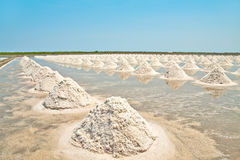 Salt fields with piled up sea salt of Thailand Royalty Free Stock Photography