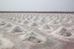Salt fields with piled up sea salt in Thailand Royalty Free Stock Photography