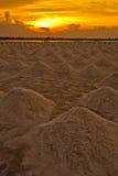 Salt fields in the sunset Stock Photos