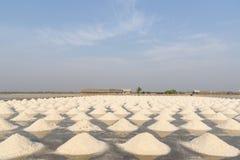 Salt fields in thailand Stock Photo