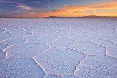 Salt flat Salar de Uyuni in Bolivia at sunrise. The world's largest salt flat, Salar de Uyuni in Bolivia, photographed at sunrise Stock Photography