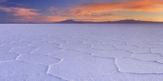 Salt flat Salar de Uyuni in Bolivia at sunrise Royalty Free Stock Photos