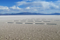 Salt flat of Salar Uyuni salt lake Royalty Free Stock Photo