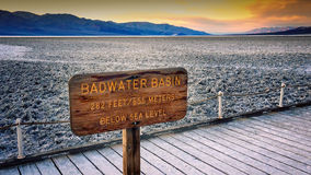 Salt Flats At Badwater Basin In Death Valley Stock Photography