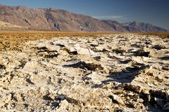Salt Flats at Badwater Basin. In Death Valley National Park, California stock photo