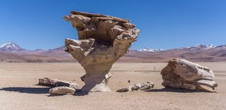 Salt Flats, Bolivia. Arbol de Piedra in the Arbol de Piedra Royalty Free Stock Images