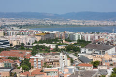 Salt flats in Cagliari, Sardinia, Italy. View on the city of Cagliary, the capital of Sarinia, and on the salt flats there Royalty Free Stock Images