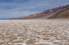 Salt Flats in a Desert Basin. In Badwater Basin in Death Valley National Park in California stock photo