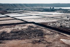 Salt flats in Lanzarote of the Canary Islands, Spain Stock Photos