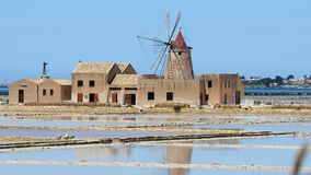 Salt flats near Marsala in Sicily Stock Images