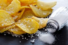 Potato chips and salt Royalty Free Stock Image