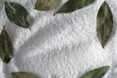 Salt with frame of bay leaf background Royalty Free Stock Photography