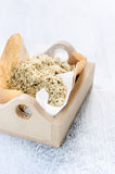 Salt garnish flavoured with nuts and seeds Royalty Free Stock Photography