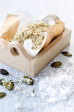 Salt garnish flavoured with nuts and seeds. Salt grinded with nuts and pumpkin seeds as a salad topping, food sprinkle or garnish stock image