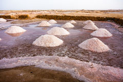 Salt gathering mounds in Santa Maria, Sal Royalty Free Stock Image