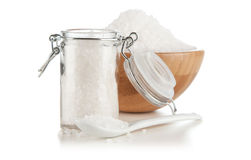 Salt in a glass container Stock Photos