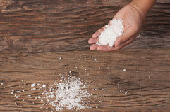 Salt on hand Stock Images