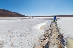 Salt handfat för vit på bolivianska Anderna Royaltyfria Bilder